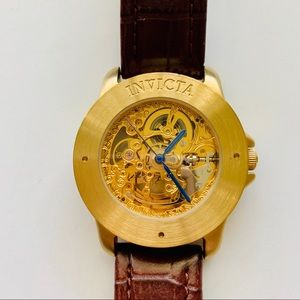 Invicta Skeleton Mechanical Watch Leather Strap